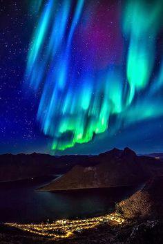 Aurora Borealis above Village on Senja, Norway