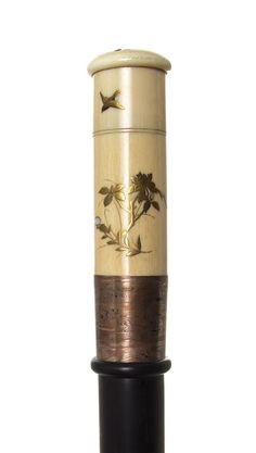 A Japanese Mixed Metal Inlaid Ivory Handled Walking Stick, Length of handle