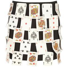 MOSCHINO VINTAGE 3D playing card skirt ($630) ❤ liked on Polyvore featuring skirts, bottoms, moschino, gonne and moschino skirt