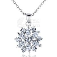 White AAA Cubic Zirconia 18K White Gold Plated Snowflake Pendants Necklaces