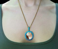 Victorian Era Gold Turquoise & Rock Crystal Magnifying Locket Necklace. Antique. @ bell and bird