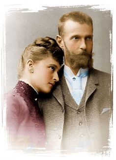 Devoted couple.  My favorite portrait of Elisabeth and her husband, Grand Duke Sergei, an uncle of Czar Nicholas II.  Elisabeth's decision to marry Sergei was incomprehensible to many people, including her grandmother, Queen Victoria, but the couple dearly loved each other and even suffered tragically similar fates.  Sergei was assassinated by socialists in 1905; Ella by the Bolsheviks in 1918.