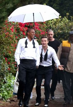 Jay-Z & Justin Timberlake on the set of 'Suit & Tie'