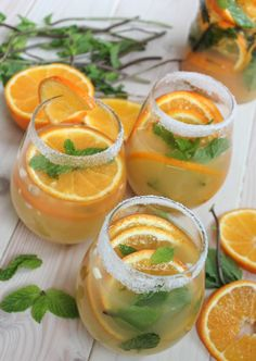 Tangerine Ginger Sake Sangria with Mint