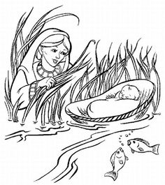 Baby Moses found in the reeds. Bible coloring page.