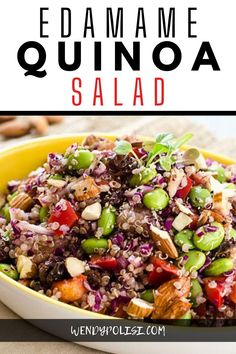 This Edamame Quinoa Salad is a delicious vegan salad that even meat-eaters will find hearty enough for a meal! It is a great make-ahead lunch for the busy work week. Quinoa Salad recipes don't get any better than this! Lentil Salad, Quinoa Salad, Edamame Salad, Edamame Beans, Vegetarian Recipes, Cooking Recipes, Healthy Recipes, Vegetarian Kids, Vegetarian Salad
