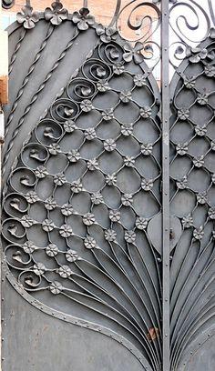 """Barcelona - Pl. Flandes 001 e,"" by Arnim Schulz, via Flickr -- Beautiful ironwork gate!"