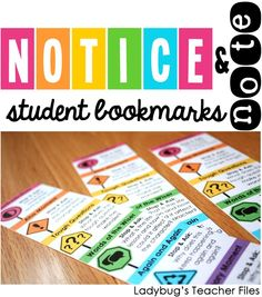Ladybug's Teacher Files: Notice & Note: Student Bookmarks - free printables to go along with close reading! Reading Comprehension Skills, Comprehension Activities, Reading Strategies, Reading Skills, Teaching Reading, Guided Reading, Teaching Ideas, Reading Activities, Reading Logs