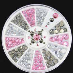 Prego 3D Art decorações branco rosa cinza Glitters DIY pedrinhas Nails ferramentas Nail Art Tips decoração adesivo Nails Care Gems alishoppbrasil