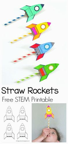 STEM Activity for Kids: How to Make Straw Rockets (w/ Free Rocket Template)- Fun for a science lesson, outdoor play activity, or unit on space! ~ BuggyandBuddy.com #stem #rocketcraft #summerplay #freeprintables #strawrockets #4thofluly