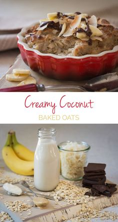 Creamy Coconut Baked Oats - The MOST DELICIOUS way to eat oats! Dark Chocolate + coconut butter make for creamy oats. Pour hot almond milk or cashew milk over them for a warm & comforting breakfast;)