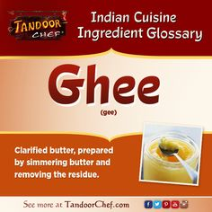 #Ghee - Making ghee is easy! Boil butter, skim the froth off of the surface. Keep #cooking on medium heat until all the froth has risen and been removed. Filter through a cheese cloth and add a pinch of salt. #IndianCuisine #Glossary