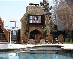 An outdoor fireplace design on your deck, patio or backyard living room instantly makes a perfect place for entertaining, creating a dramatic focal point. Outdoor Rooms, Outdoor Living, Outdoor Kitchens, Outdoor Parties, Indoor Outdoor, Living Pool, Outdoor Fireplace Designs, Outdoor Fireplaces, Fireplace Ideas