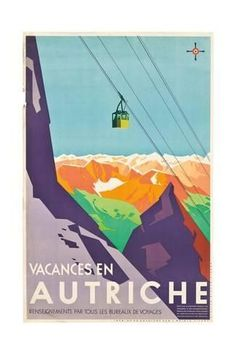 Fantastic Glossy Print - 'Austria' - Taken From A Rare Vintage Travel Poster (Vintage Travel / Transport Posters) Vintage Ski, Vintage Travel Posters, Funny Vintage, Art Deco Posters, Poster Prints, Poster Wall, Poster Poster, Art Print, Giclee Print