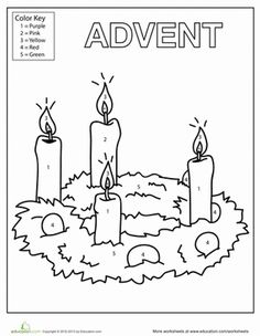 Christmas Kindergarten Worksheets: Advent Candles Coloring Page Make your world more colorful with free printable coloring pages from italks. Our free coloring pages for adults and kids. Advent Candle Colors, Advent Candles, Advent Activities, Christmas Activities, Christmas Colors, Kids Christmas, Christmas Tables, Nordic Christmas, Modern Christmas