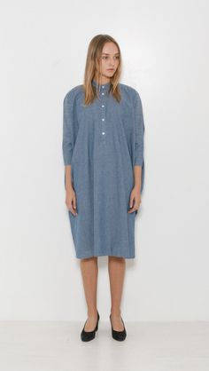 6397 Chambray Big Square Dress in Light Indigo | The Dreslyn