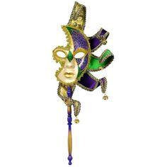 Mardi Gras Starburst Half Mask on a Stick ❤ liked on Polyvore