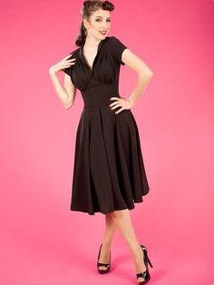 MISS CANDYFLOSS Odette, schwarz - 40er Jahre Rockabilly Kleid | Flaming Star Shop
