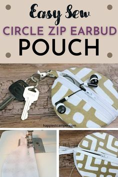 Always struggling to find your earbuds in your backpack? Why not make this fashionable and practical Easy Sew Circle Zip Earbud Pouch to keep your earbuds organized! This fun and simple sewing tutorial is a great beginner sewing project. This is one project that will be great to have a few fo these. Sewing Patterns For Kids, Easy Sewing Projects, Sewing Projects For Beginners, Sewing Tutorials, Bag Patterns, Sewing Ideas, Sewing Crafts, Craft Projects, Scrap Busters