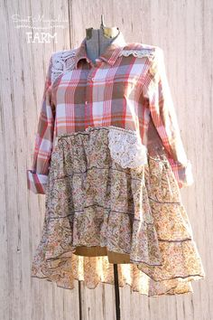 Farm Girl Fancies Upcycled Flannel Shirt Jackets by: Sweet Magnolias Farm (To Read entire description please click on the +MORE in the bottom left of description) Approx. Shoulders 15 Bust Up to 40 Length Front from shoulder to bottom 29 Back 36 shoulder to bottom Hips Up to
