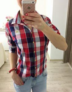 Dámska károvaná košeľa Plaid, Shirts, Tops, Women, Fashion, Gingham, Moda, Fashion Styles, Dress Shirts