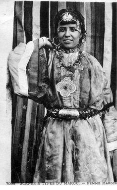 "Africa | ""Scenes & Type; Femme Marocanie""  Dated 1927.   || Vintage Postcard; publisher LL."
