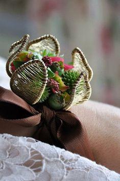 GORGEOUS wrist corsage by artist and designer Malgorzata Pawlowska :: Wedding bracelet, basket wire