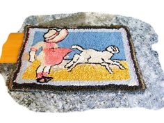 """Folk Art,  Hand Hooked Rug Little Girl in Pink with Sheep Lamb, ca 1900 wool on burlap 23"""" x 16"""", friendship gift"""