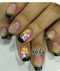 Black Tip French Manicure with Flowers Fabulous Nails, Gorgeous Nails, Perfect Nails, Elegant Nail Designs, Nail Art Designs, May Nails, Hair And Nails, Cute Nails, Pretty Nails