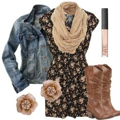 I like this dress, as long it isn't too short (just above the knee or longer) and scarf. I would like the denim jacket if it were darker