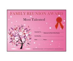Most Talented Award: Oak PassionTheme Free Family Reunion Certificate  Template   Family Reunion Hut   Reunion Basics  Free Printable Family Reunion Templates