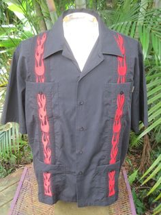 Mens Mexican Wedding Shirt GUAYABERA Pit to Pit 26.5 DRAGONFLY embroidery Black #Dragonfly #MexicanWeddingShirt Mens Hawaiian Shirts, Wedding Shirts, Chef Jackets, Embroidery, Clothes, Black, Tops, Fashion, Mexican Textiles