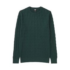 Cotton Cashmere Cable Sweater Olive - Uniqlo