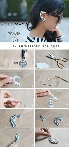 DIY Rhinestone Ear Cuff | Wander Hunt