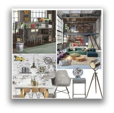 """Industrial Home Decor"" by marionmeyer on Polyvore featuring interior, interiors, interior design, home, home decor, interior decorating, Lene Bjerre, Amanti Art, Kichler and Lyon Béton"