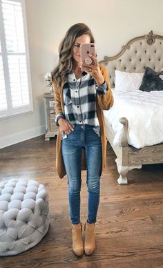 In this article you will check out the most elegant and trendy Cute Fall Outfits. These are really cool tips for you to have a lot of style in the cold season. Check out Cute fall outfits images Cute Fall Outfits, Fall Winter Outfits, Autumn Winter Fashion, Spring Outfits, Casual Outfits, Plaid Shirt Outfits, Casual Winter, Winter Style, Feminine Fall Outfits