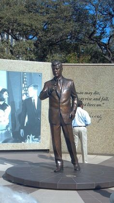 New bronze statue of JFK in downtown Ft. Worth, TX.  JFK gave his last public appearance and speech here before he was shot the next day in Dallas.