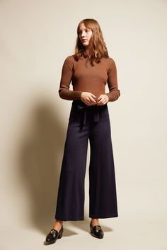No.6 Karin Wide Leg Pant in Navy Double Knit