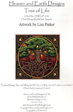 Tree of Life Cross Stitch Pattern - Tangled roots anchor this massive tree, as its branches soar heavenward, touching the stars. The Tree of Life stands as a bridge between worlds, and a connection between the visible world and the realm that lies just beyond our senses. Based on artwork by Lisa Parker. Design measures 464 stitches wide by 466 stitches high. #Cross-stitchPatterns #Pagan #LisaParker #TreesGreenman #GryphonsMoon