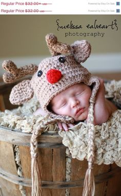 New Years Sale 25 off Newborn Red Nose Reindeer... by garysangel, $24.00