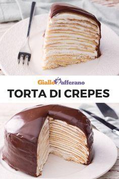 La TORTA DI CREPES è un dolce goloso e facile da preparare. Strati di crepes si alternano a panna montata. Il tutto ricoperto da una golosa gananche al cioccolato. #giallozafferano #torta #dolci #dessert #crepes #ricettefacili #ricetteveloci #torte #cake #crepescake [Chocolate Crepe Cake] Great Desserts, Dessert Recipes, Nutella Crepes, Crepe Cake, Keto Cake, Bakery Cakes, Macaron, Let Them Eat Cake, Wine Recipes
