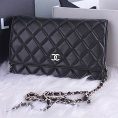 Chanel Classic Flap Chanel Wallet On Chain (WOC) Chanel evening bag the original sheepskin black Silver