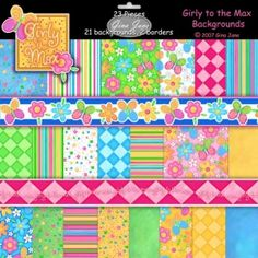 Girly to the Max II - Digital Scrapbook Kit loaded with cute Hip Chick backgrounds in stripes, dots, flowers and solids for making cute birthday party crafts, scrapbook layouts for girls and teens and tweens.  DAISIECOMPANY