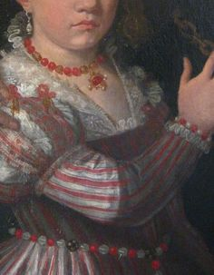 Love the detail on the necklace and girdle belt. 1560s Giovanni Antonio Fasolo, Paola Gualdo and Daughters Detail. This dress is worn by a teenager/tween.