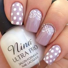 Mauve with White Polka Dots and Lace Mani