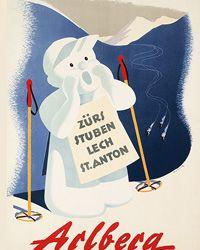vintage ski poster  - Arlberg Ski Lodge Decor, Vintage Ski Posters, Snow Place, Harry Potter Poster, Luggage Labels, Poster On, Graphic Illustration, Skiing, Retro Vintage