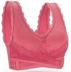 """BRABIC Women Sport Bras Top Lace Trim Side Buckle Padded Full Support Pack of 3 (L 36A 36B 36C 36D 38A 38B, Rose). Our brand """"BRABIC"""" has been registered in US by USPTO. It is protected by laws in US. Please do not attempt to infringe our right otherwise legal action will be taken. Trademark NO:87055841. Wide Shoulder Straps and beautiful lace trim for comfortable fit and Racerback design .It looks great under a dress, t-shirt, and suit for work! They look great at home with sweat pants too…"""
