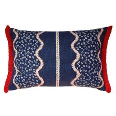 Jasham Indigo Cushion - 40cm x 60cm  The William Yeoward Jasham Indigo pure cotton is a stunning combination of print and embroidery and the perfect fabric to front our limited edition No Chintz cushion.  #cushion #cushioncovers #designerfabrics #williamyeoward #homedecor #softfurnishings #nochintz