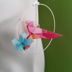 Statement OOAK paper earrings with an origami and flower Paper Earrings, Bird Earrings, Paper Jewelry, Handmade Shop, Handmade Items, Handmade Gifts, Origami Hummingbird, Cute Gifts, Best Gifts