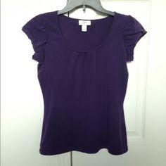 SALE - LOFT Purple Top A dark purple short sleeve top from LOFT. Size S. Gently worn, good condition. 95% cotton, 5% spandex. LOFT Tops